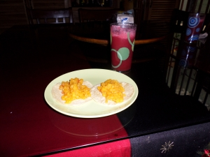 This was some sort of diced potatoes with strawberry fresca. Both were very delicious :)