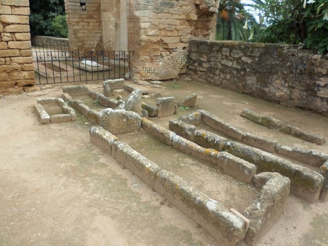 Some graves in the ruins of the mosque; corpses were buried on their sides so they could be facing the homeland