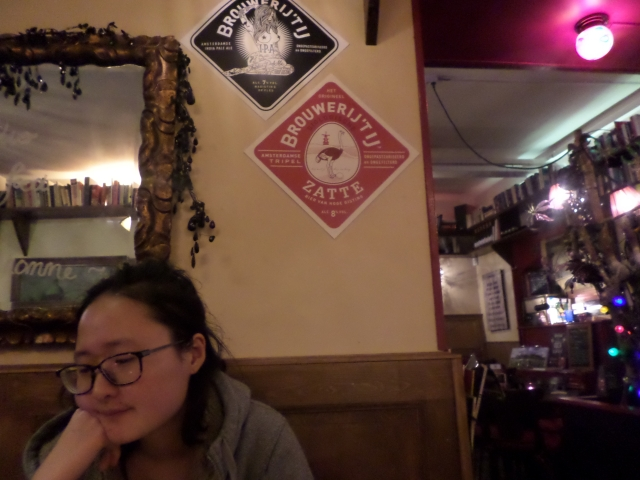 The beer on the red sign was the amazing one, bonus awesome picture of Helena in a food coma